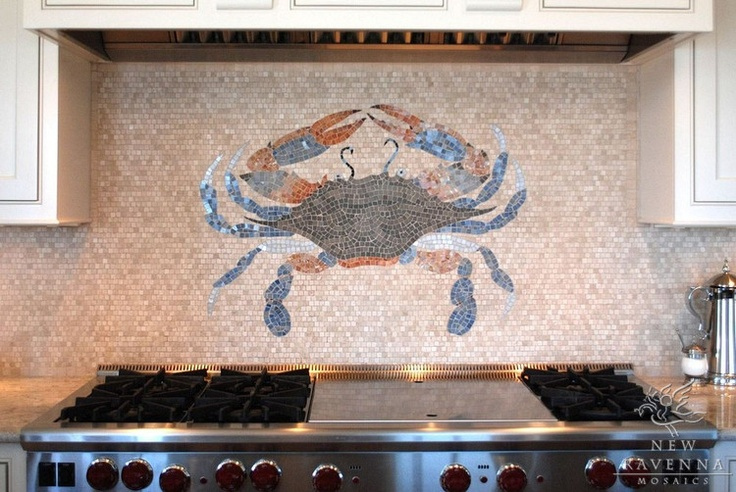 Crab design in mosaic backsplash