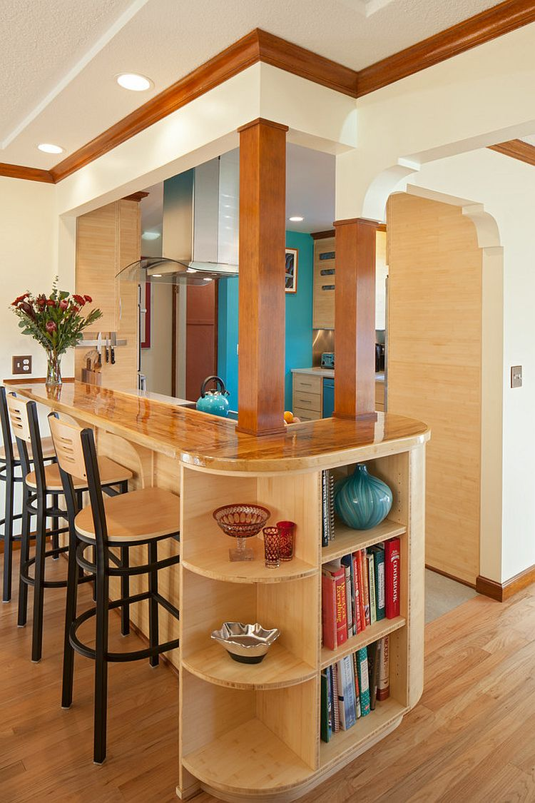 Craftsman style kitchen island with breakfast bar and open shelving at the end [Design: Celeste Lewis Architecture]
