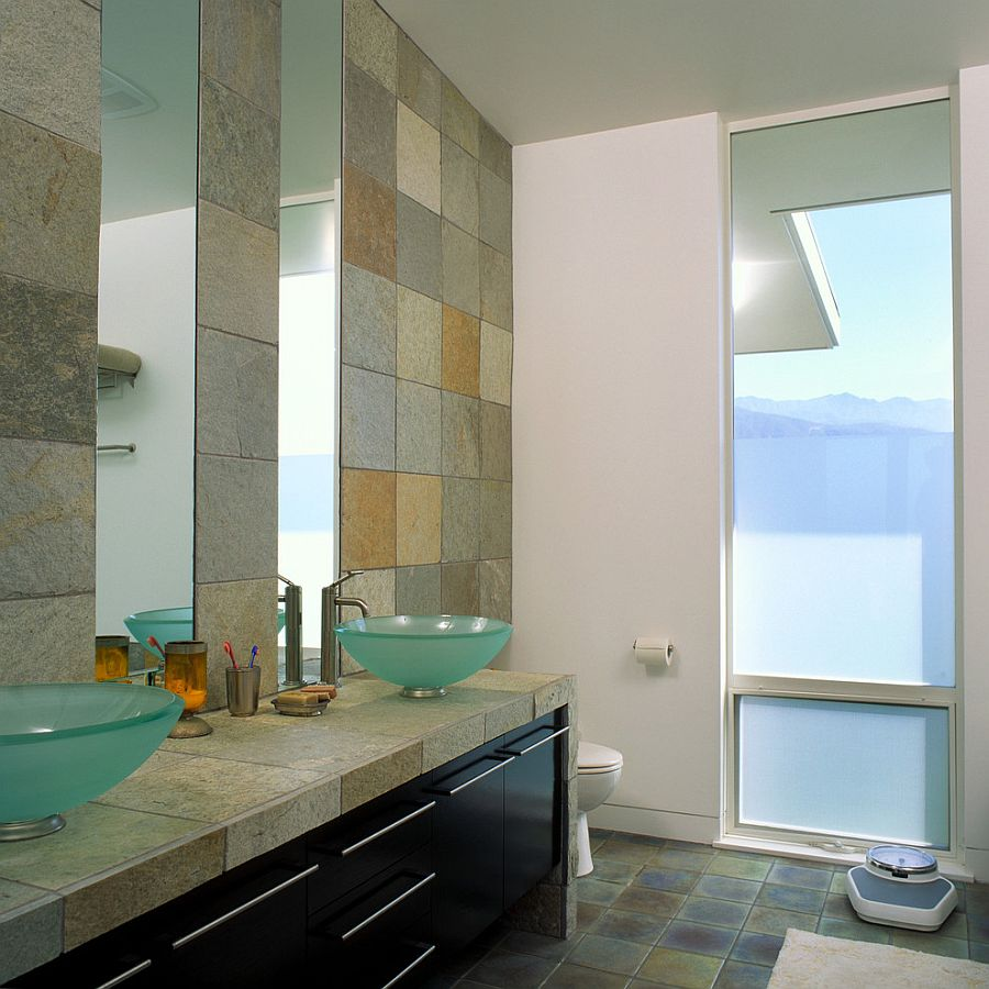 Creative bathroom design with bech style and smart use of tile