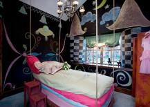 Creative girls' bedroom idea with chalkboard walls