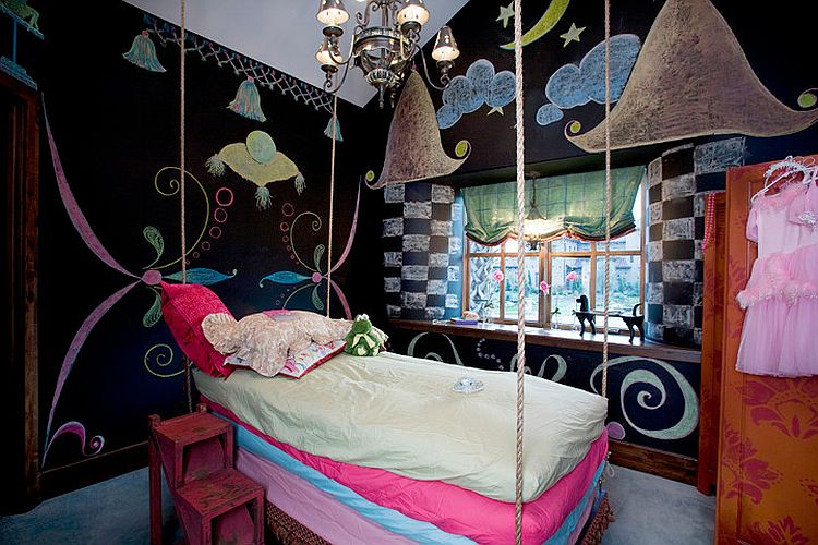 creative girls bedroom idea with chalkboard walls design braswell homes - Creative Girls Rooms
