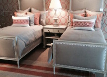 Creative use of pattern in guest room with twin beds 217x155 22 Guest Bedrooms with Captivating Twin Bed Designs