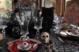 Creepy Halloween setting with skulls and eyeballs!