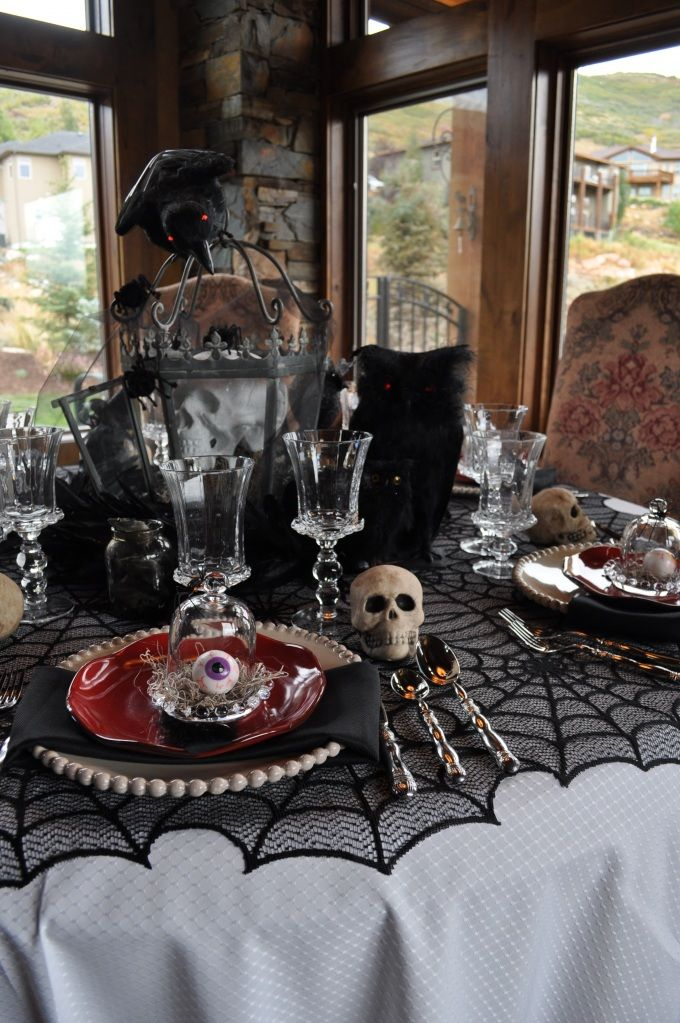 Creepy Halloween setting with skulls and eyeballs!