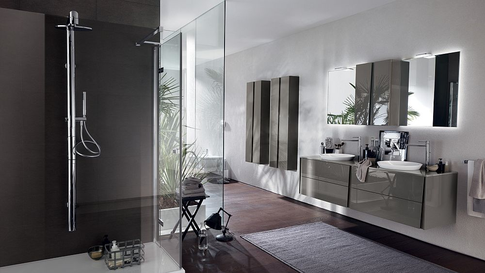 view in gallery crisp and minimal bathroom design in titanium gray - Minimal Bathroom Designs