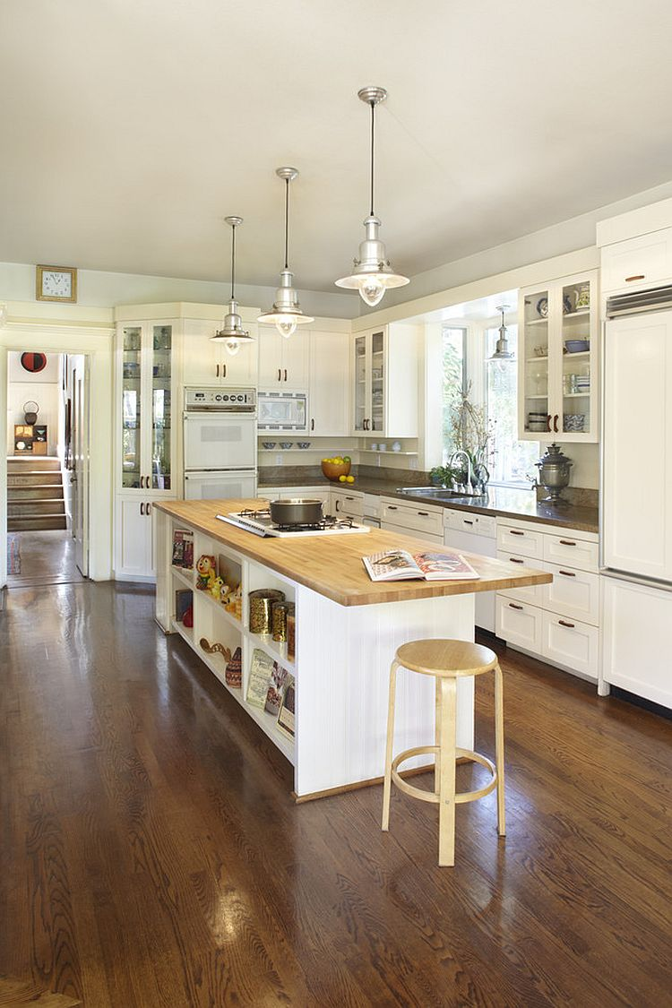 Kitchen Of The Week A Diy Ikea Country Kitchen For Two: Custom Contemporary Kitchen Island With Open Shelves And