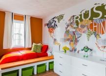 Custom designed world map wall mural