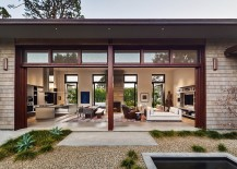 Custom made sliding doors bring the outdoors inside 217x155 Thayer Residence: Breezy Santa Barbara Home Sheds Spotlight on a Stunning Courtyard