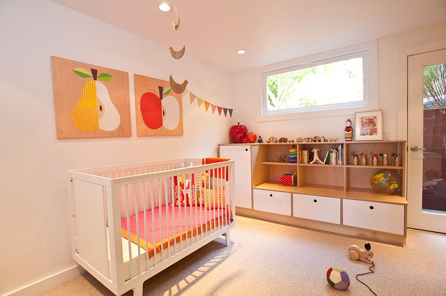 Cute Scandinavian nursery with splashes of pink and Oeuf Sparrow Crib [Photography: Red Princess Productions]