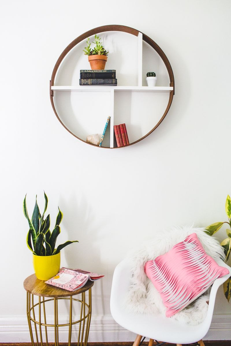 DIY hoop shelf from A Beautiful Mess