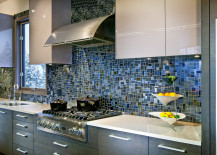 Dark blue mosaic tile kitchen backsplash 217x155 18 Gleaming Mosaic Kitchen Backsplash Designs