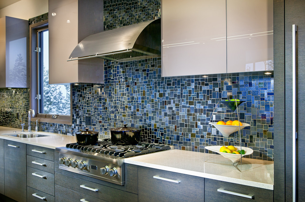 tile kitchen backsplash Light blue and turquoise mosaic tile kitchen