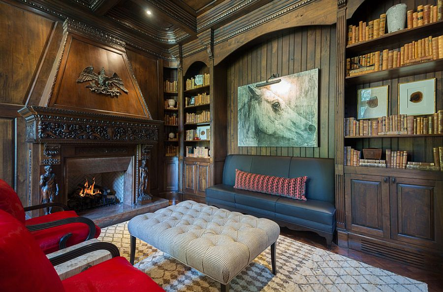Dark paneled walls bring coziness to the plush home office [Design: Pineapple House Interior Design]