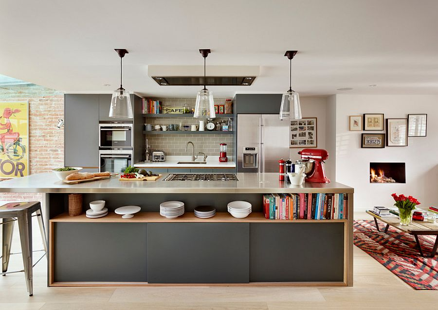 View in gallery Dashing kitchen island in gray with open shelving and sleek  stainless steel countertop [From: