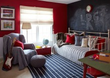 Daybed and chalkboard wall create a more informal and fun bedroom