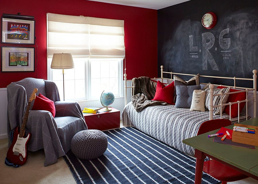 ... Daybed And Chalkboard Wall Create A More Informal And Fun Bedroom  [Design: Lisa Gabrielson