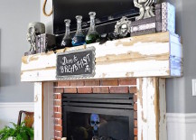 Dead Breakfast Halloween decor for a fireplace with room for a TV 217x155 18 Spooktacular Halloween Ideas for Your Fireplace Mantel