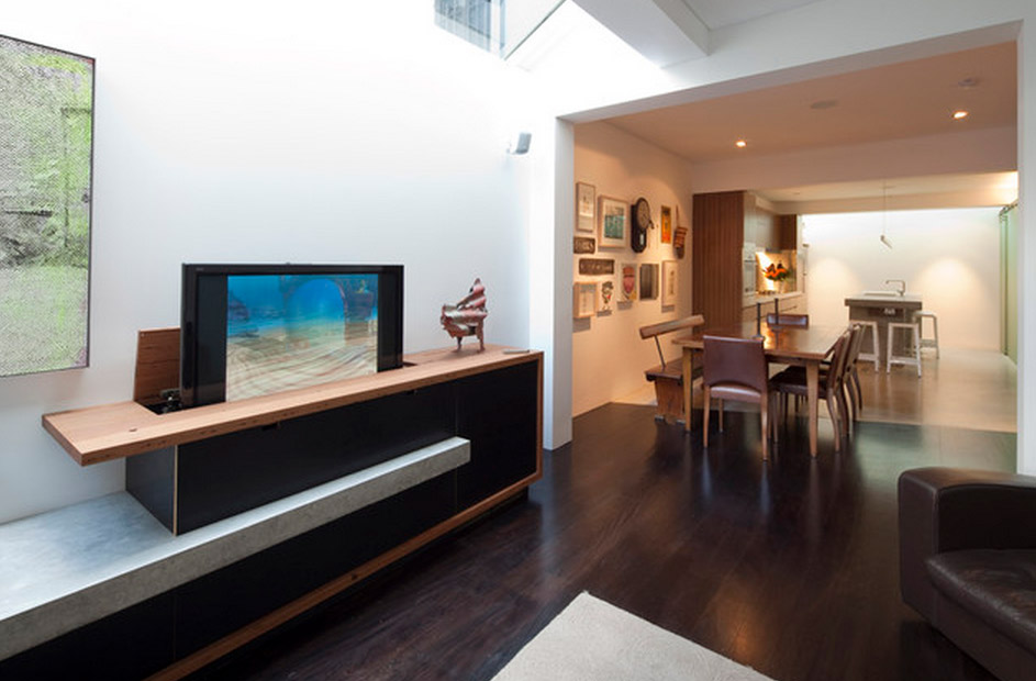 Disappearing TV Console in Modern Room