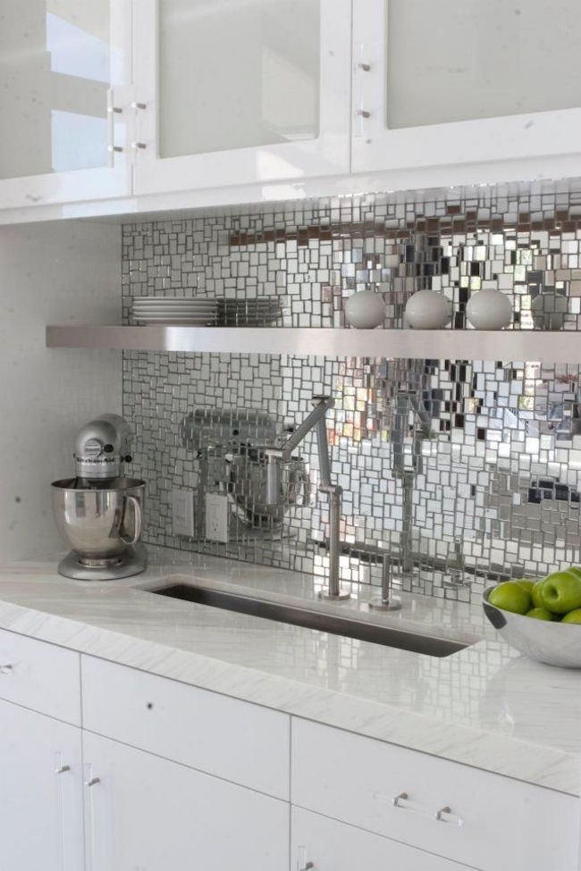 Disco-inspired reflective mosaic backsplash