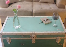 Distressed ombre steamer trunk in teal 217x155 16 Old Trunks Turned Coffee Tables That Bring Extra Storage and Character