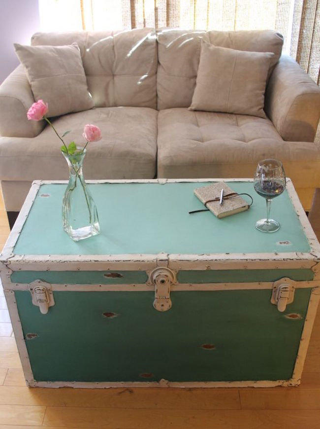 Distressed ombre steamer trunk in teal Black Steamer Trunk Coffee Table