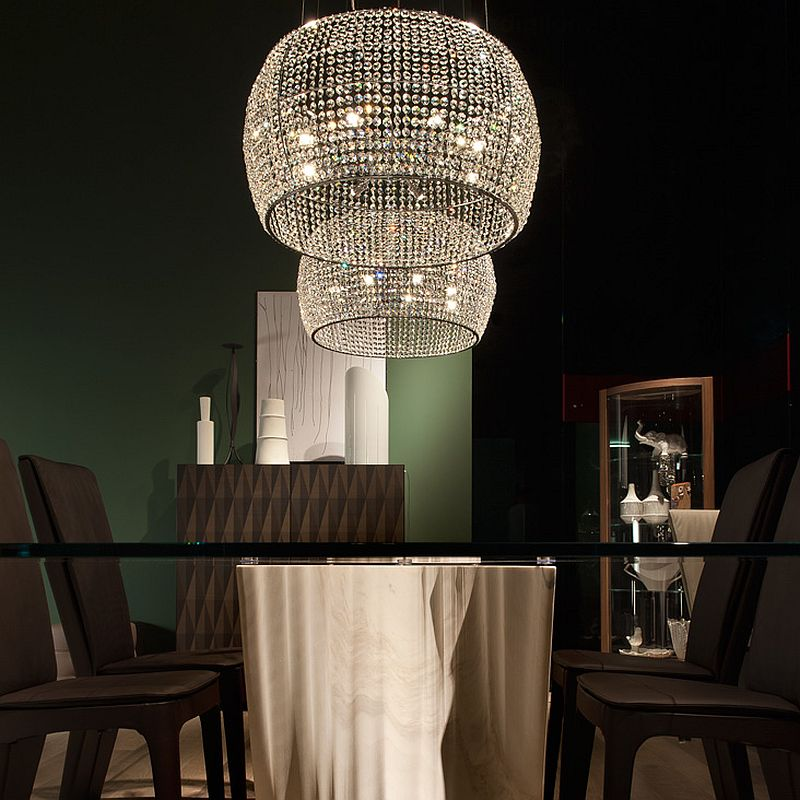 Dome design of the chandelier similar to the iconic Caboche chandelier