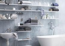 white modular shelving system in bathroom
