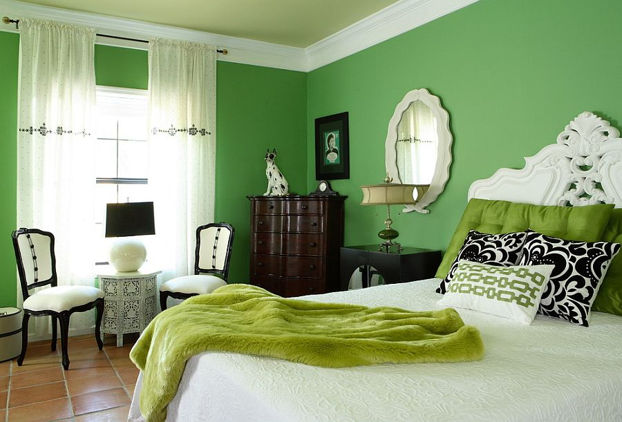 Eclectic budget bedroom design with loads of green [Design: Design Theory Interiors of California / Chris Little Photography]