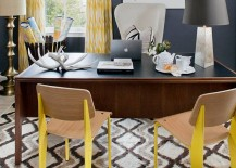 Eclectic home office in gray with pops of yellow 217x155 Energize Your Workspace: 30 Home Offices with Yellow Radiance