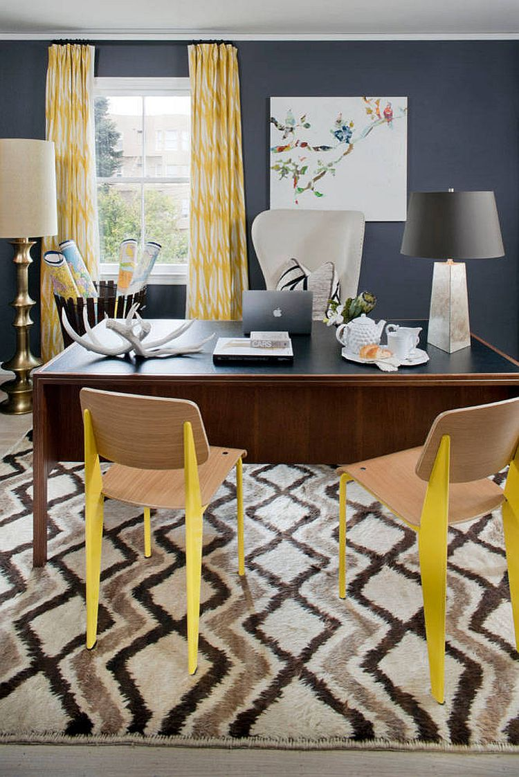 Eclectic home office in gray with pops of yellow [Design: Green Couch Interior Design]