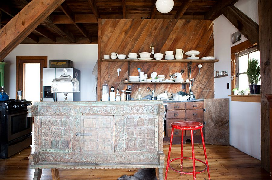 Eclectic industrial style kitchen crafted from salvaged materials [Photography: Tess Fine]