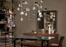 Elegant Eclipse penadnts with metal and glass 217x155 Hottest Finds: Trio of Sparkling Ceiling Lamps with Glassy Panache