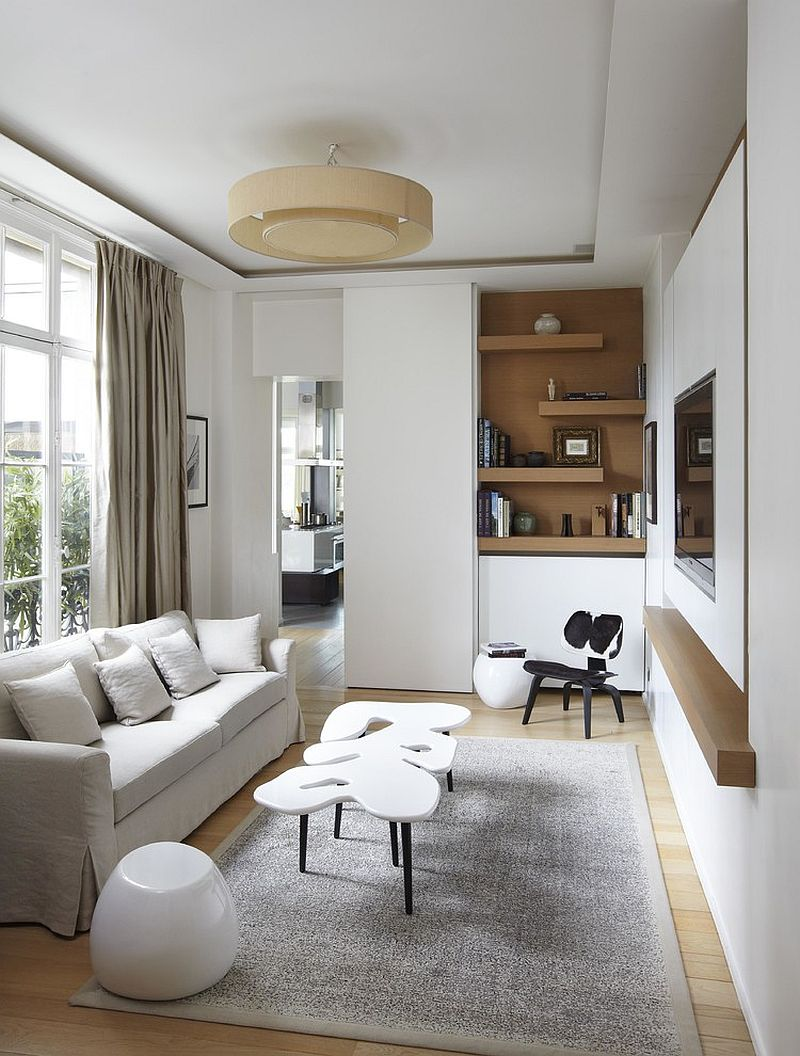 Elegant TV room with modern Scandinavian style [Design: Bismut & Bismut Architectes]