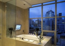 Elegant bathroom with a city view
