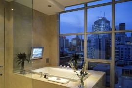 Elegant bathroom with a city view  Spectacular Bathroom Design with a View Elegant bathroom with a city view