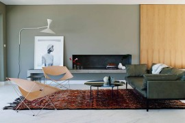 Elegant concrete bench in the living room with unassuming minimal style