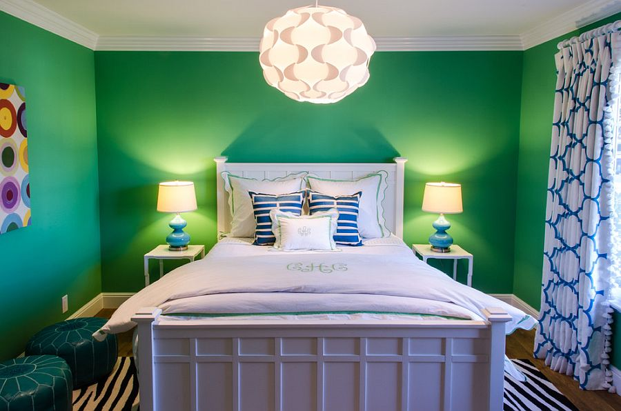 Elegant kids' bedroom design for those who adore green [Design: Evars + Anderson Interior Design]