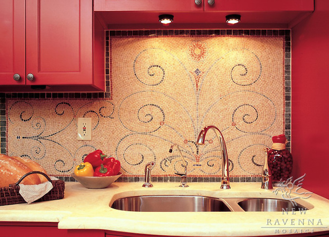 Elegant mosaic backsplash with swirl design