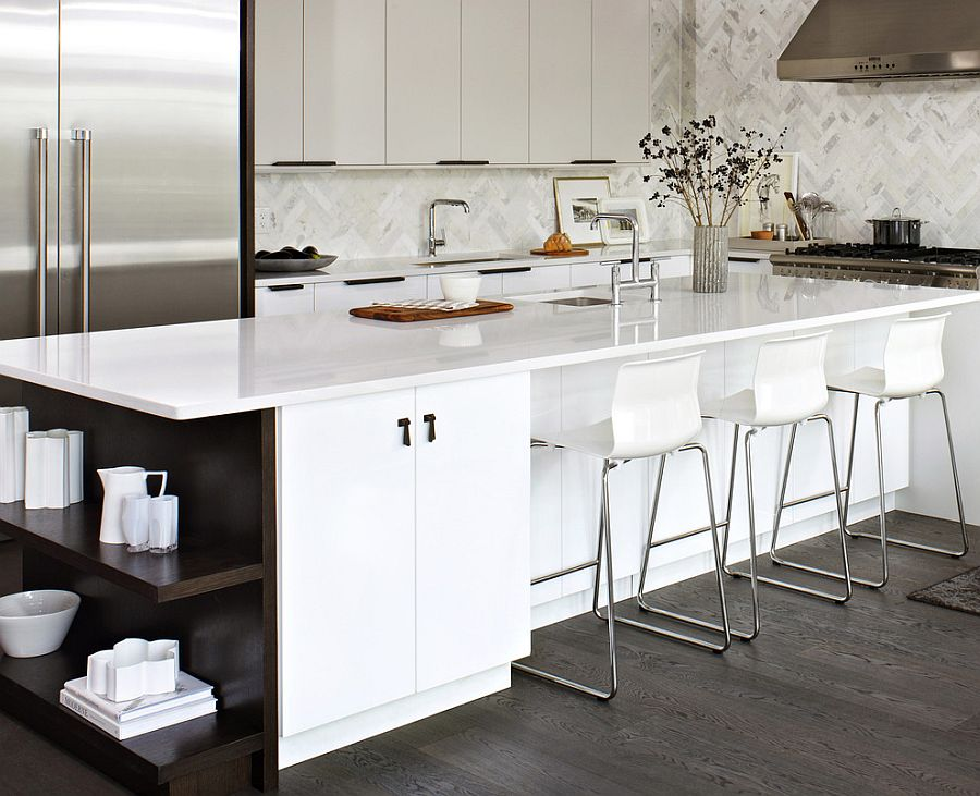 Elegant white kitchen island with dark, open shelves [Design: Croma Express Kitchens]