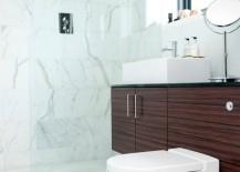Elegant white marble powder room