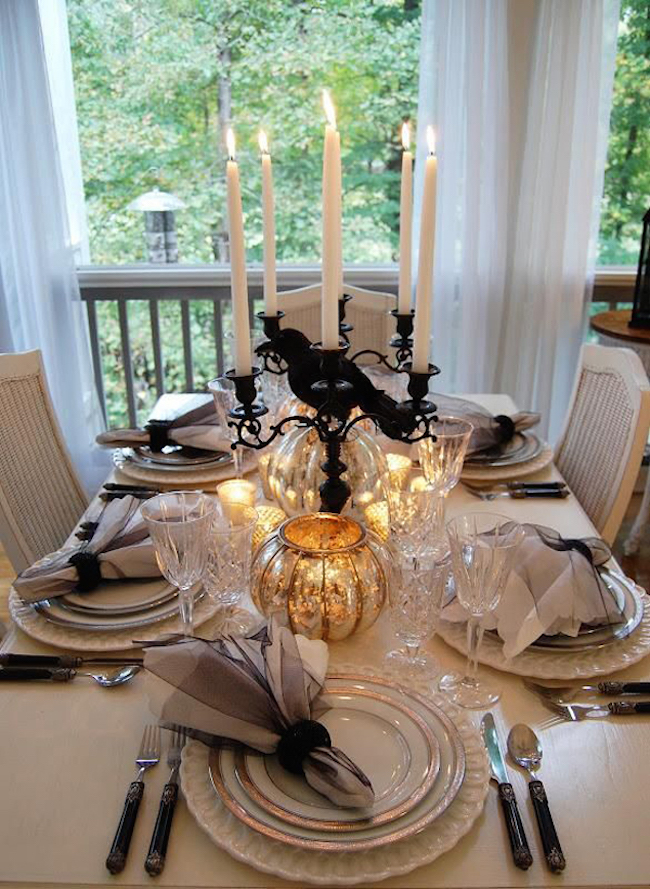 Elegantly subtle Halloween table setting
