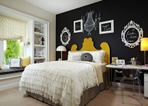 Empty-picture-frames-and-chalkboard-paint-create-a-vibrat-accent-wall-in-the-bedroom-217x155