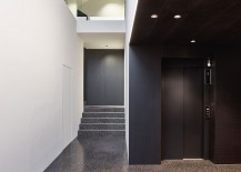 Entance level of House GT with elevator connecting the four different levels