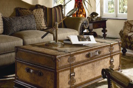 Ernest Hemingway Traveler's Trunk Cocktail Table  16 Old Trunks Turned Coffee Tables That Bring Extra Storage and Character Ernest Hemingway Travelers Trunk Cocktail Table 270x180