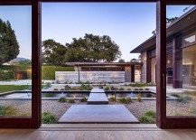 Exquisite courtyard of the Santa Barbara home welcomes you with its zen-like brilliance