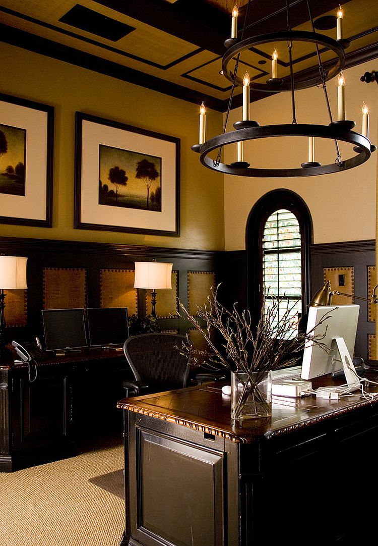 Exquisite home office has a gentlemen's club vibe [Design: Anne Rue Interiors]