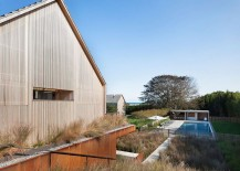 Exterior of the barn styled home reflects the traditional design in the oceanfront community 217x155 Gabled Potato Barns Inspire Modern East Hampton Family Home