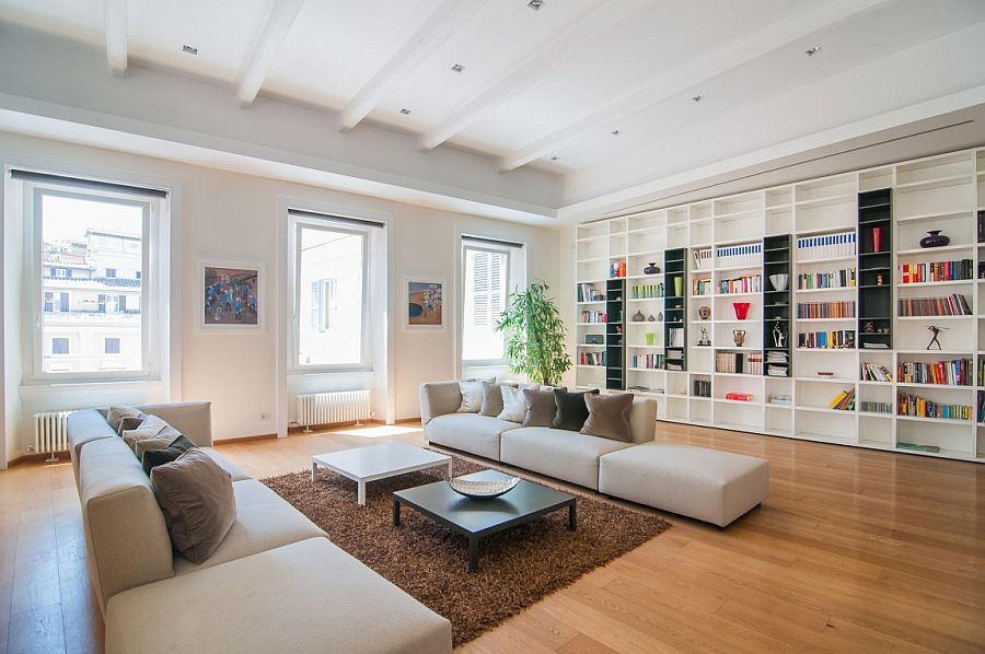View In Gallery Fabulous And Extensive Living Room Bookshelf Design