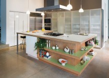 Fabulous kitchen island with open shelves, Formica laminate worktop and ergonomic prep zone