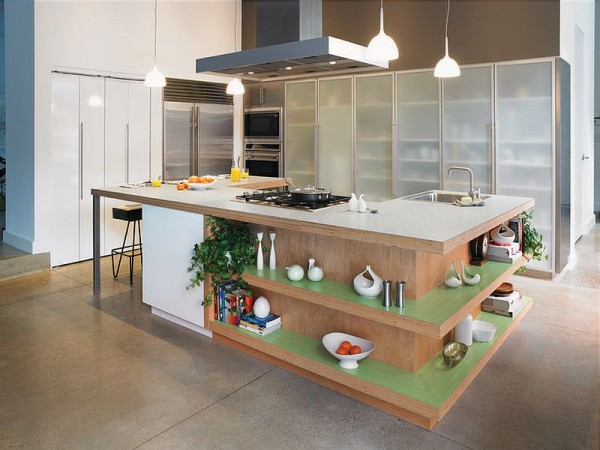 Open shelving for the kitchen island gives it classy appeal of a